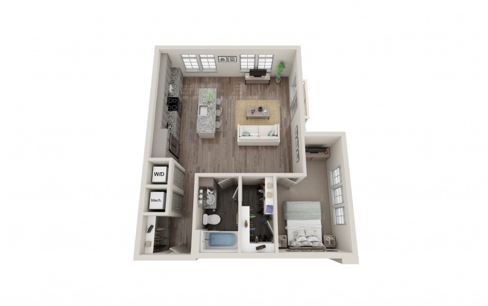 A1 - 1 bedroom floorplan layout with 1 bath and 787 to 788 square feet.