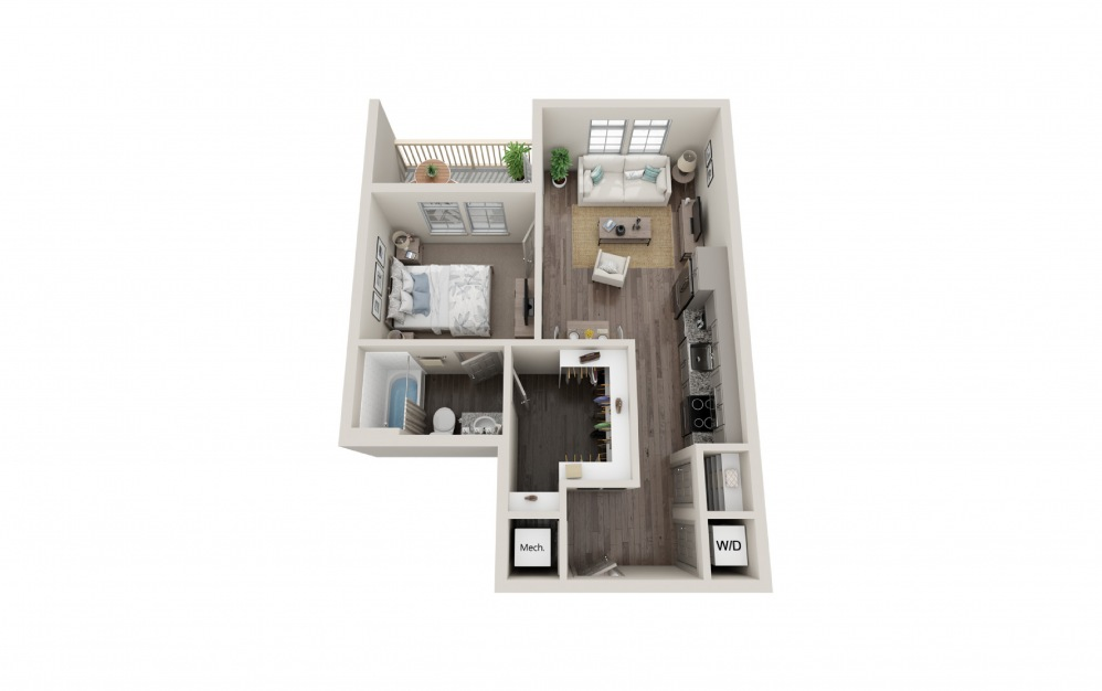 A11 - 1 bedroom floorplan layout with 1 bath and 604 square feet.
