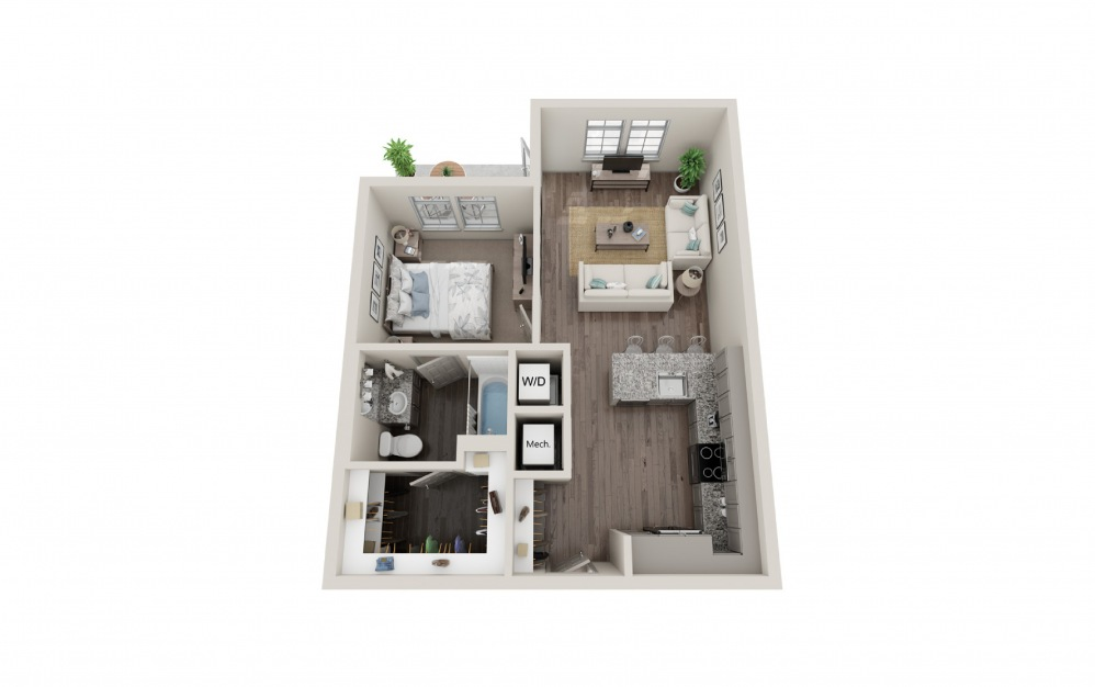 A2 - 1 bedroom floorplan layout with 1 bath and 653 to 724 square feet.