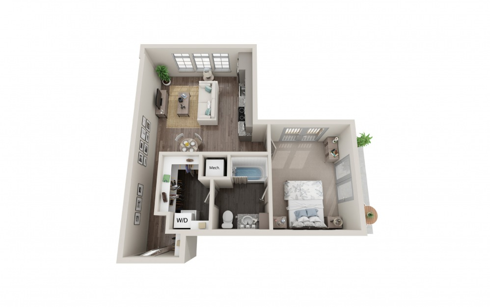 A3 - 1 bedroom floorplan layout with 1 bath and 670 square feet.