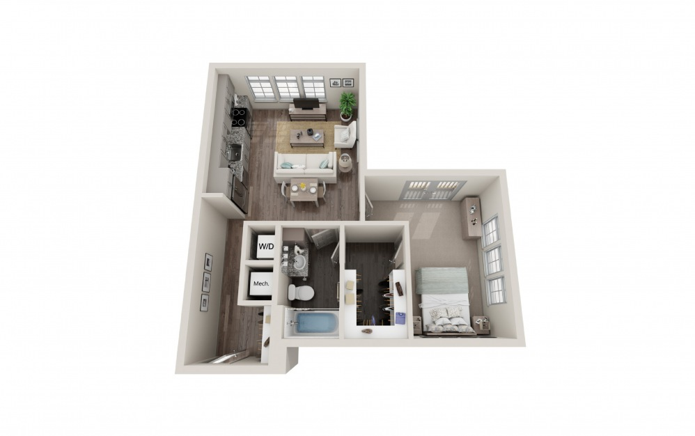 A5 - 1 bedroom floorplan layout with 1 bath and 682 square feet.