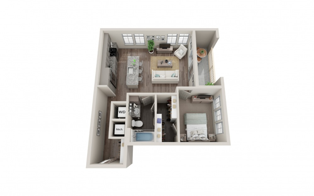 A8 - 1 bedroom floorplan layout with 1 bath and 706 square feet.