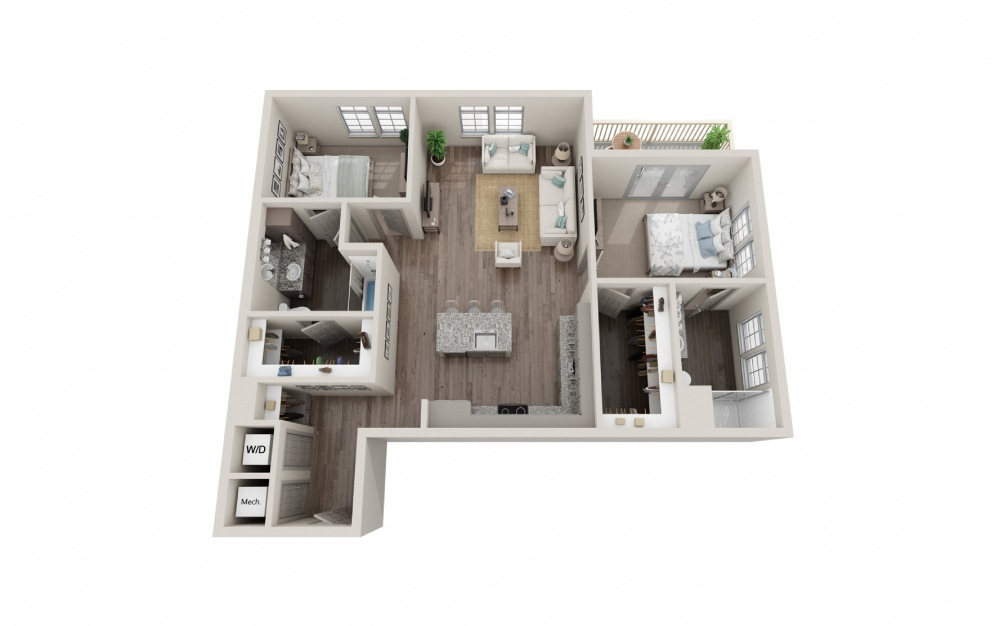 B1 - 2 bedroom floorplan layout with 2 baths and 1161 square feet.