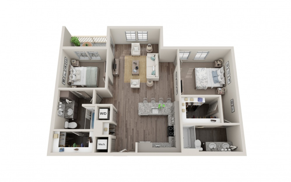B2 - 2 bedroom floorplan layout with 2 baths and 1074 square feet.