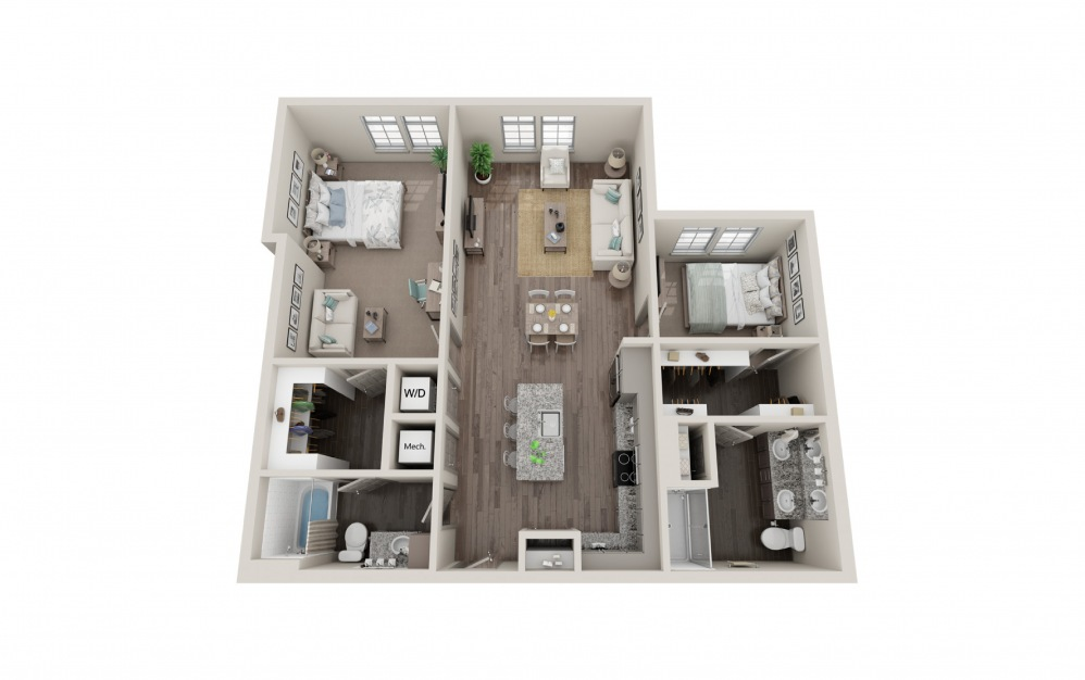 B3 - 2 bedroom floorplan layout with 2 baths and 1124 to 1146 square feet.