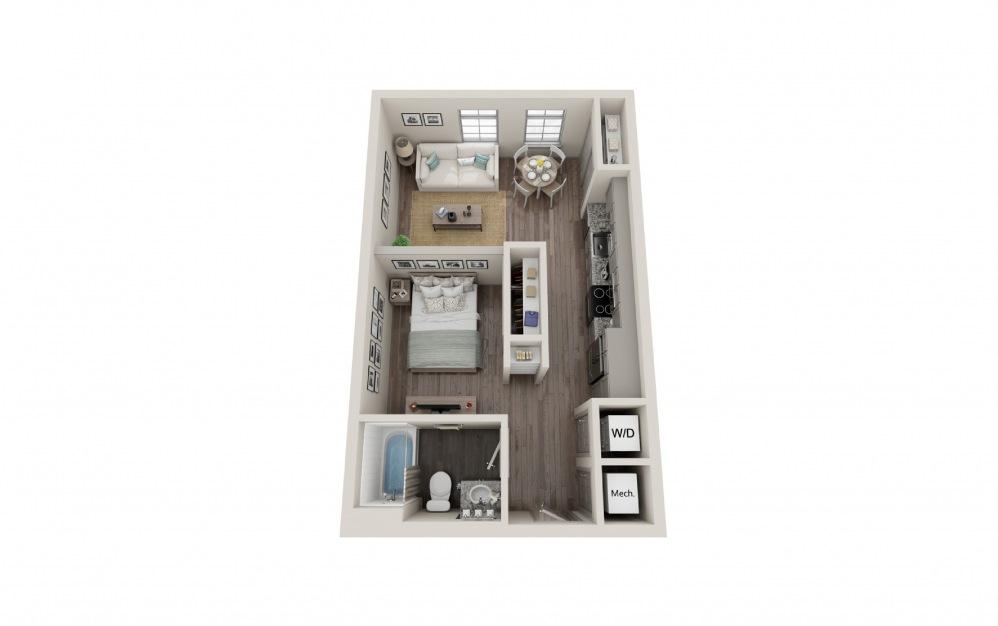 S1 - Studio floorplan layout with 1 bath and 549 square feet.