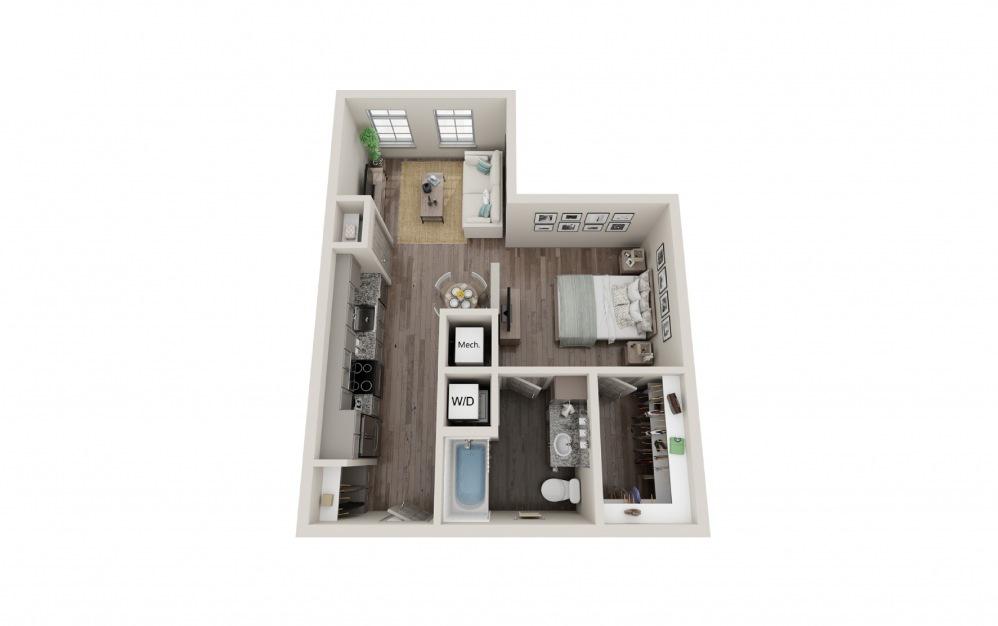 S2 - Studio floorplan layout with 1 bath and 605 square feet.