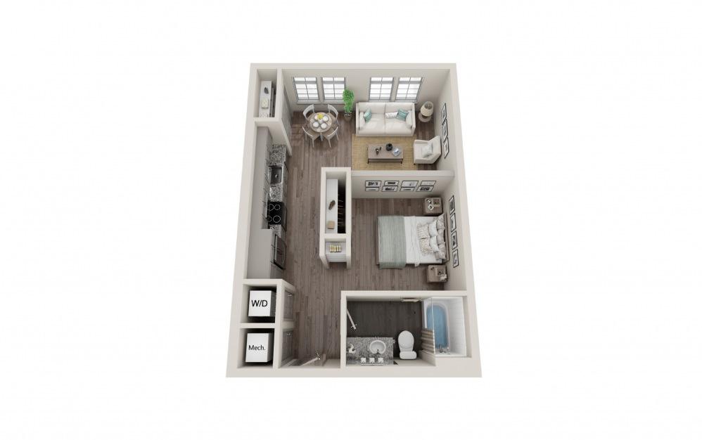 S3 - Studio floorplan layout with 1 bath and 584 square feet.
