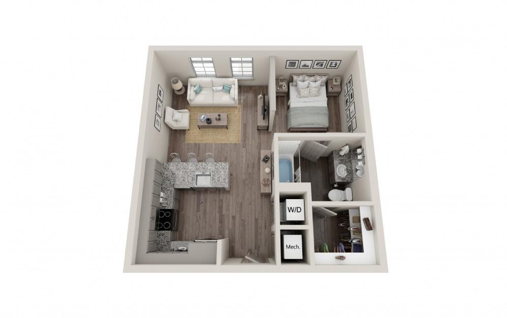S4 - Studio floorplan layout with 1 bath and 602 square feet.