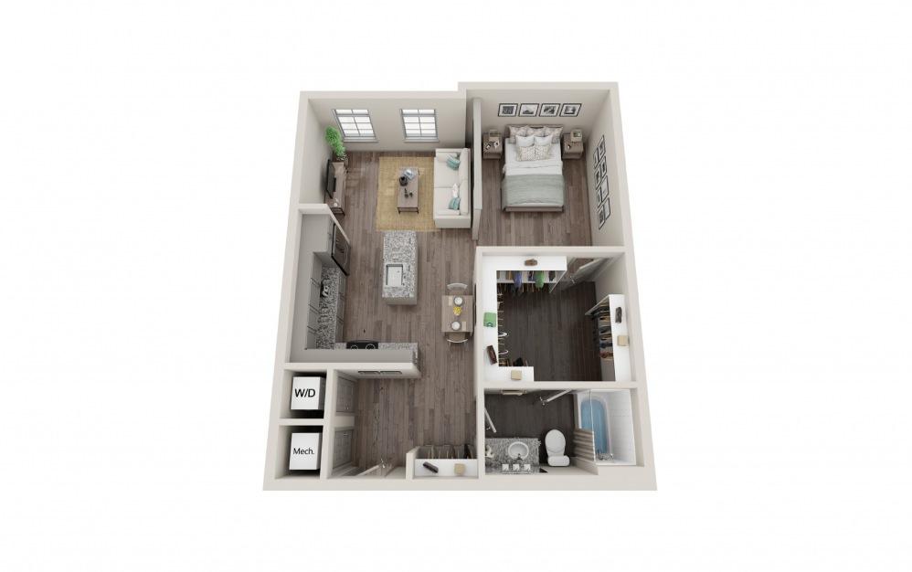 S5 - Studio floorplan layout with 1 bath and 715 square feet.